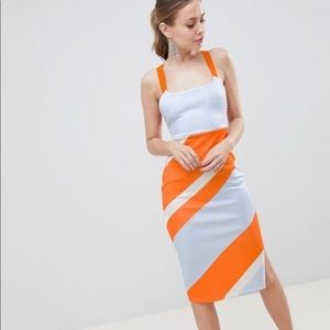 ASOS Orange Blue Stripe Scuba Bodycon Midi Dress